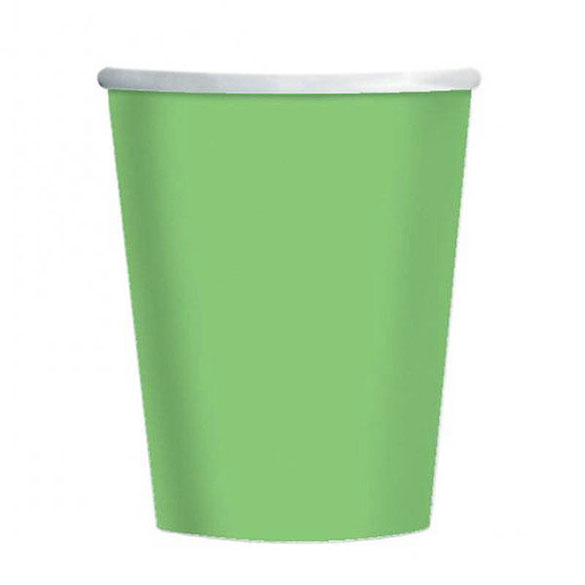 Vasos Verde pistacho cartón encerado 266 ml, Pack 8 u.
