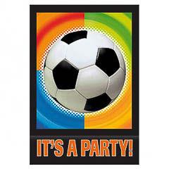 Invitaciones cumpleaños Fútbol, Pack 8 u.