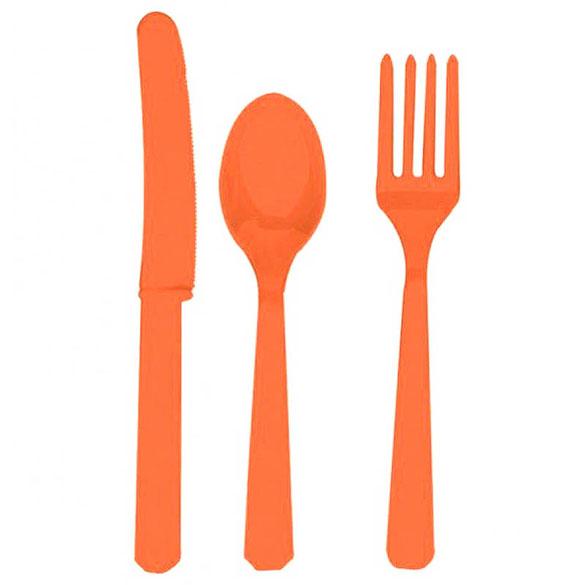 Cubiertos de plástico Naranja, Pack 24 u.