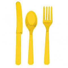 Cubiertos de plástico Amarillos, Pack 24 u.