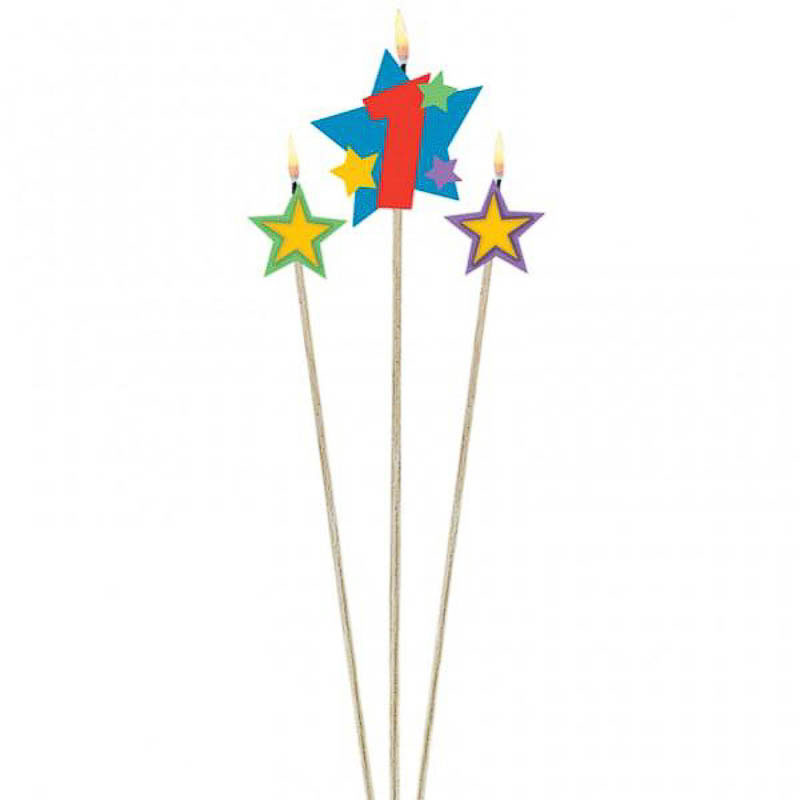 Vela cumpleaños número 1 y dos estrellas con palo