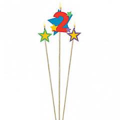 Vela cumpleaños número 2 y dos estrellas con palo