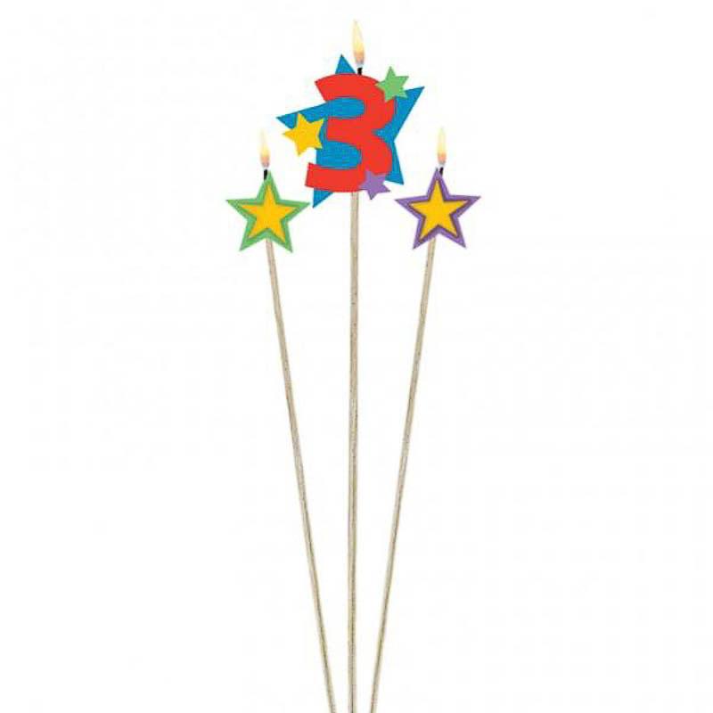Vela cumpleaños número 3 y dos estrellas con palo