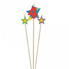 Vela cumpleaños número 4 y dos estrellas con palo