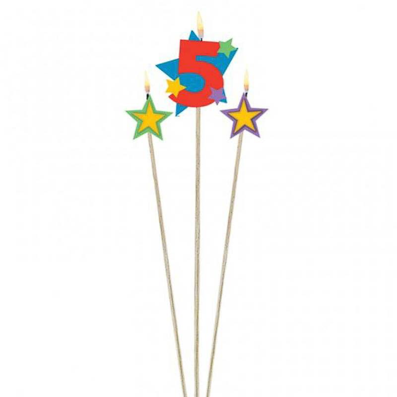 Vela cumpleaños número 5 y dos estrellas con palo