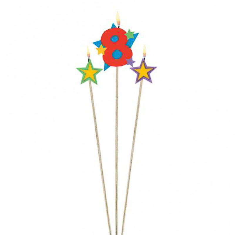 Vela cumpleaños número 8 y dos estrellas con palo