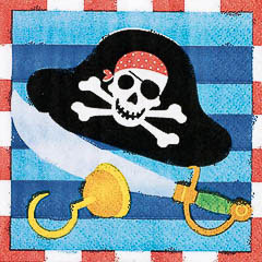 Servilletas Piratas 25 x 25 cm, Pack 16 u.