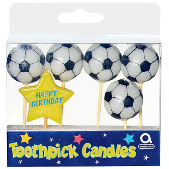 Velas balones fútbol, Pack 6 u.