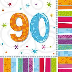 Servilletas 90 años 33 x 33 cm, Pack 16 u.
