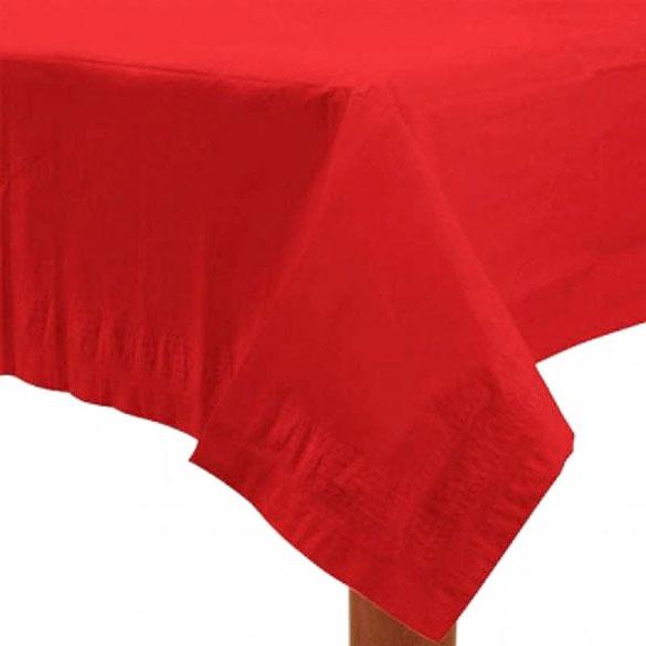 Mantel liso rojo 274 x 137 cm impermeable, Pack 1 u.