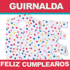 Guirnalda articulada Feliz Cumpleaños de cartón - Ítem