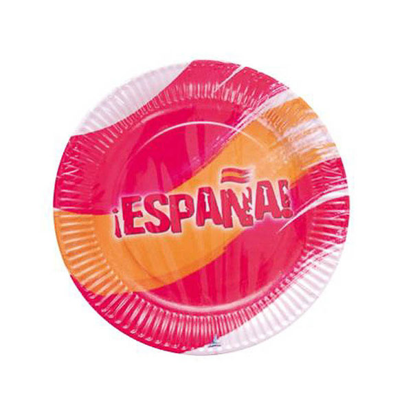 Platos Bandera España 23 cm, Pack 8 u.