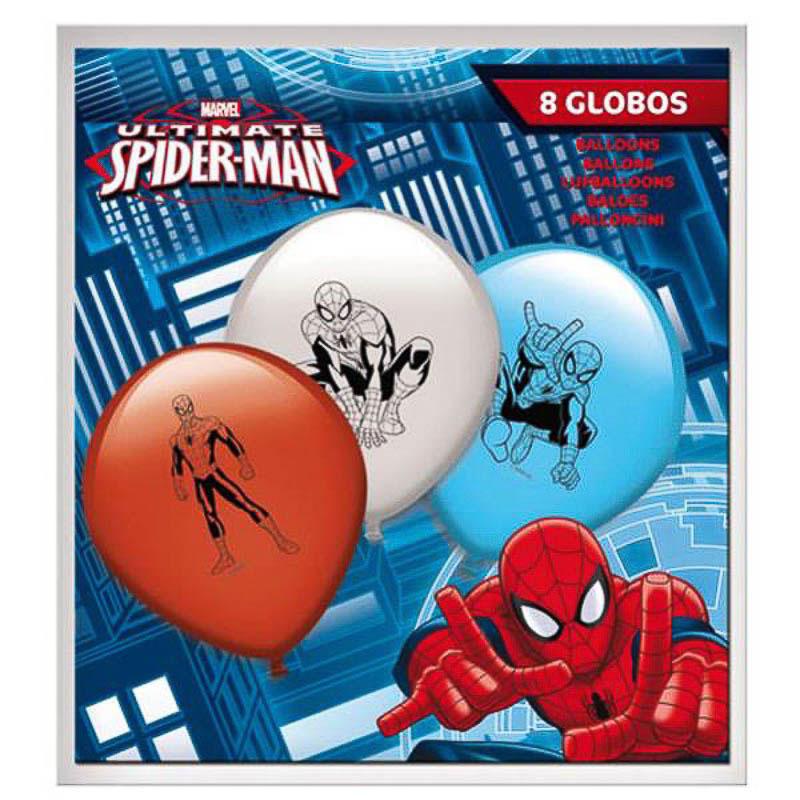 Globos de Látex Spiderman colores surtidos. Pack 8 unidades