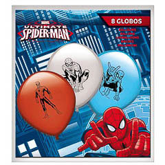 Globos de Látex Spiderman colores surtidos. Pack 8 unidades