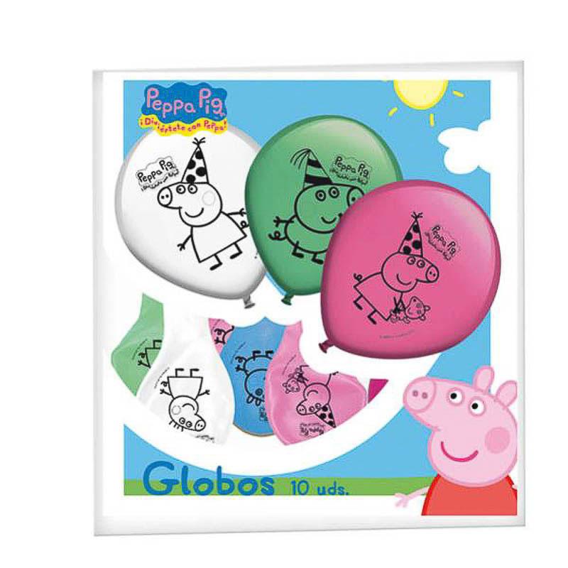 Globos de Látex Peppa Pig colores surtidos. Pack 8 unidades