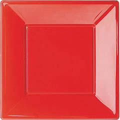 Platos Rojos lisos 23 x 23 cm, Pack 8 u.