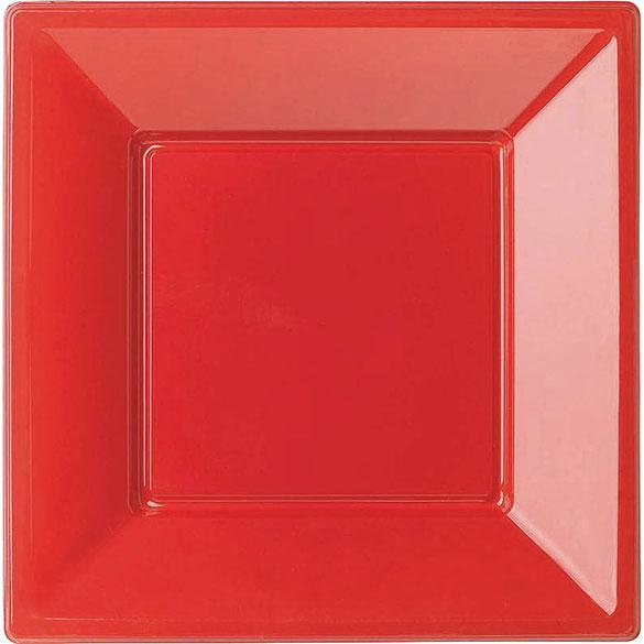 Platos Rojos lisos 18 x 18 cm, Pack 8 u.