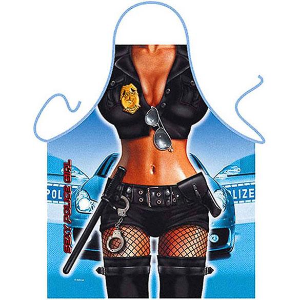 Delantal de cocina divertido, gracioso, chica policía sexy