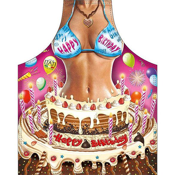Delantal de cocina divertido, gracioso, chica tarta cumpleaños