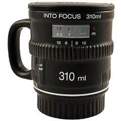 Taza termo modelo objetivo cámara de fotos