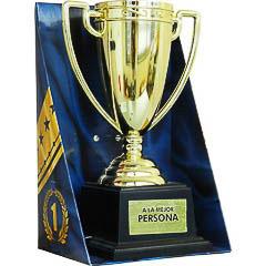 Trofeo mejor persona copa dorada con peana negra
