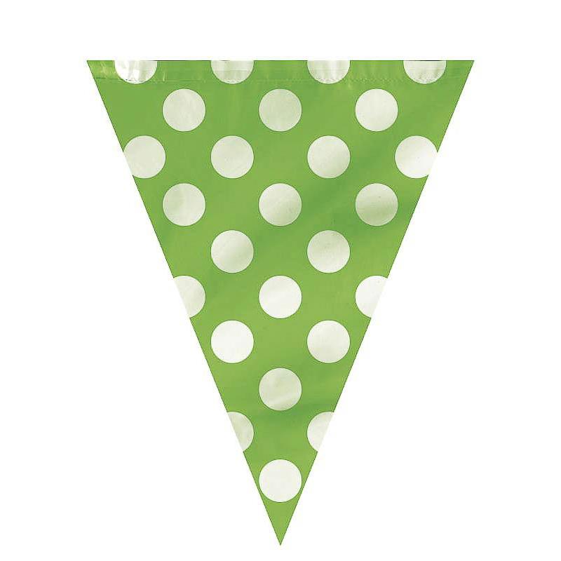 Guirnalda verde con lunares blancos de plástico