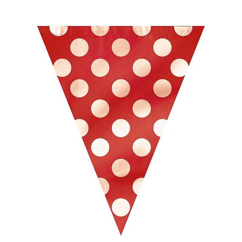 Guirnalda banderines rojos con lunares blancos de plástico