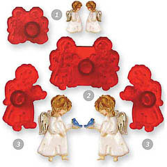 Cortadores de galletas con formas de angelitos, Set 4 u.