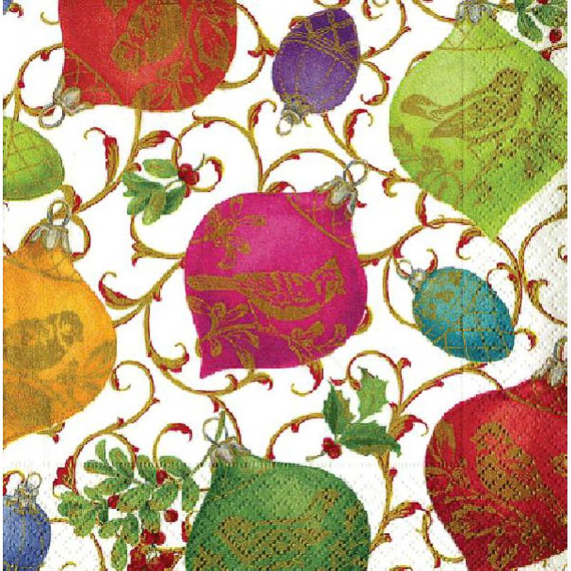 Servilletas Ornamentos Ivory Navidad 33 x 33 cm, Pack 20 u.