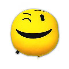 Cojín redondo amarillo emoticono
