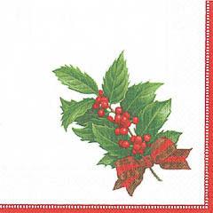 Servilletas Acebo Navidad 25 x 25 cm, Pack 20 u.