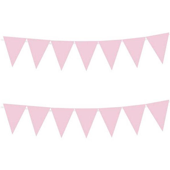 Guirnalda Banderines rosa de plástico