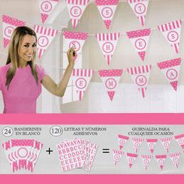 Guirrnalda banderines personalizables rosa