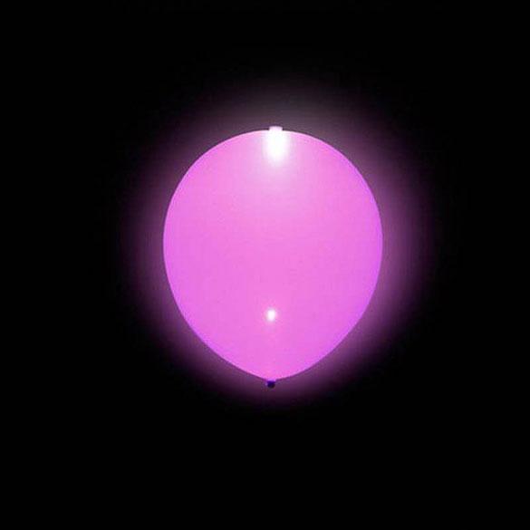Globos de Látex Luz Led de color Rosa. Pack 5 unidades