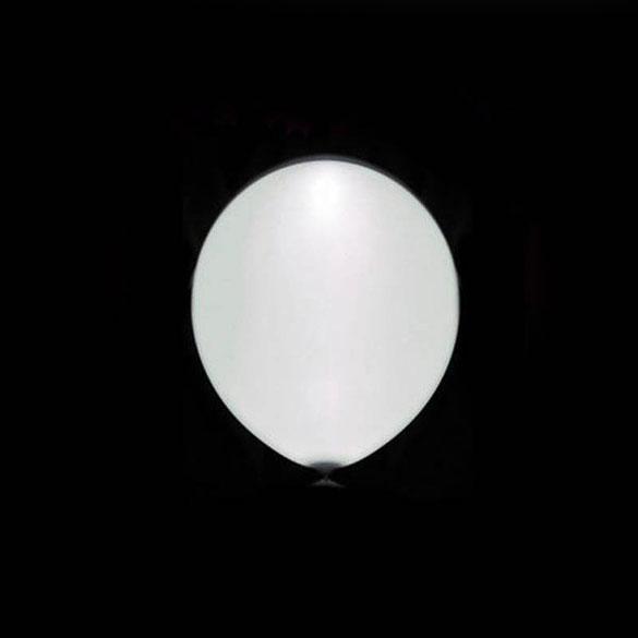 Globos de Látex Luz Led de color Blanco. Pack 5 unidades