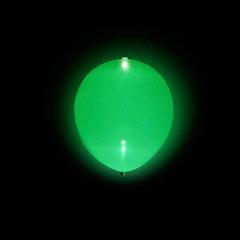Globos de Látex Luz Led de color Verde. Pack 5 unidades
