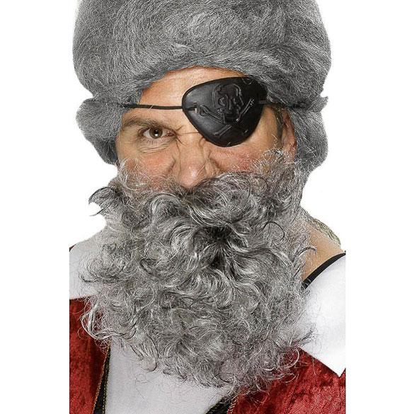 Barba y bigote gris canosa
