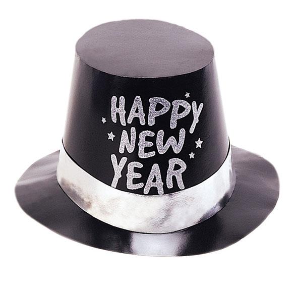 Chistera de cartón negra Happy New Year 2019