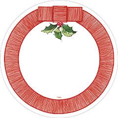 Platos borde rojo Acebo Navidad 26,00 cm, Pack 8 u.