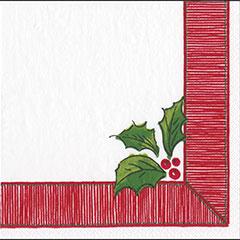 Servilletas borde rojo Acebo Navidad 33 x 33 cm, Pack 20 u.