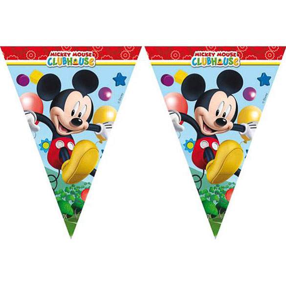 Guirnalda banderines triangulares Mickey Mouse