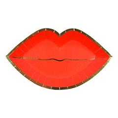Platos forma labios rojos con borde dorado 25,50 x 15,00 cm, Pack 8 u.