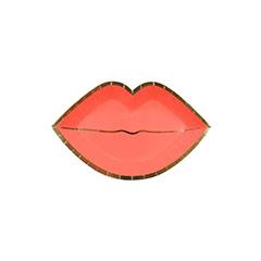 Mini plato forma labios rojos con borde dorado 12,00 x 7,50 cm, Pack 8 u.
