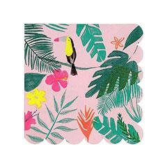 Servilletas Tropicales rosa 12,5 x 12,5 cm, Pack 20 u.