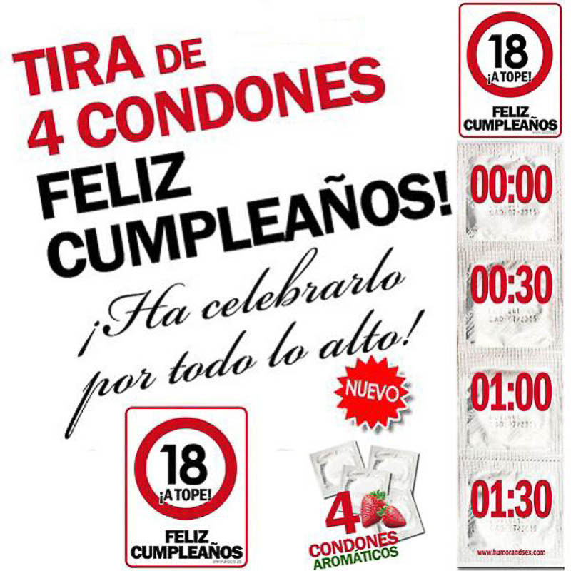 Preservativos feliz 18 cumpleaños
