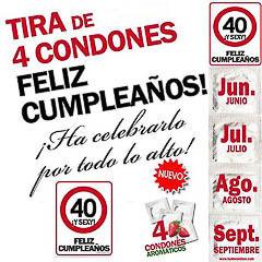 Preservativos feliz 40 cumpleaños
