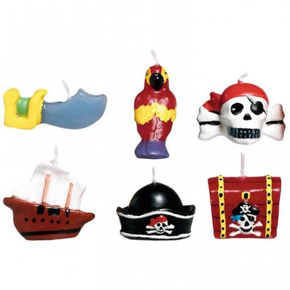 Velas cumpleaños piratas, Pack 6 u.