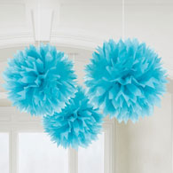Pompones decorativos color turquesa, Pack 3 u.