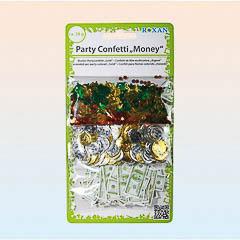 Confeti metálico y de papel billetes y monedas