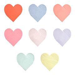 Servilletas forma de corazón de colores variados, de 17,00 x 16,50 cm. Pack 20 u.